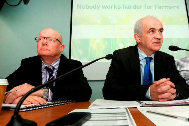 2/11/14 IFA President Eddie Downey flanked by IFA General Secretary Pat Smith and Deputy President Tim O'Leary, chairs an IFA EGM on the beef crisis. The IFA President said the meat industrys commitment to the Minister to address the issues, must translate into immediate and substantial beef price increases Picture: Finbarr O'Rourke NO REPRO FEE