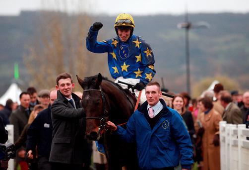 Jockey Ian Popham and Annacotty in the winners' enclosure after their victory in recent Paddy Power Gold Cup in Cheltenham.