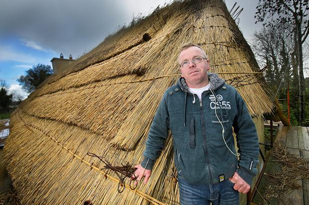 Dairy Farmer John Lenihan inspects progress on the re-thatching of the family's 300-year-old farm house at Dromahoe, Dromtarriff, Co Cork Photo: Valerie O'Sullivan