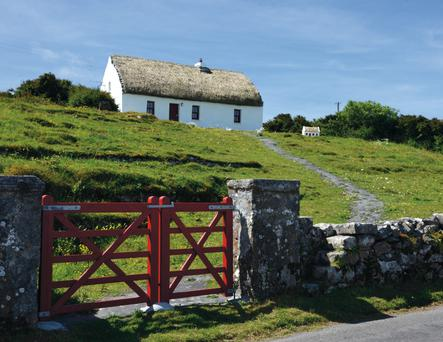 A renovated thatched home on Inis Mór in the Aran Islands