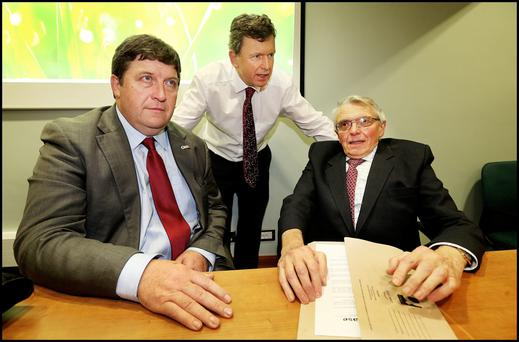 Tim O'Leary, deputy president, Brian Barry, acting general secretary of the IFA and Con Lucey former chief economist, review the situation following last Wedensday's marathon 17-hour meeting at IFA headquarters. Picture: Steve Humphreys