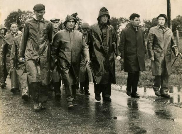 Future IFA president TJ Maher (right) leads a group of Tipperary farmers during the 1966 march on Dublin.