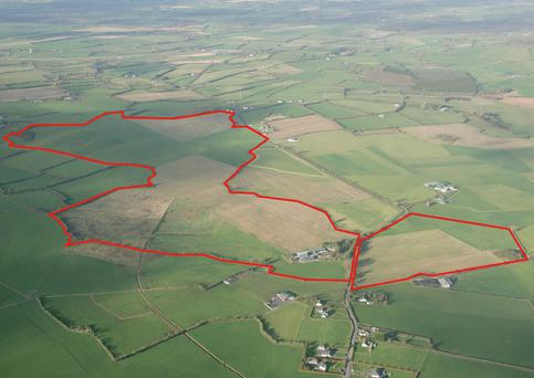 An aerial view of the 227ac at Ballygeehan which is part of the overall sale of 318ac in the heart of Laois farming country.