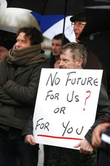 An IFA-organised protest by grain farmers outside Glanbia headquarters in Kilkenny last month
