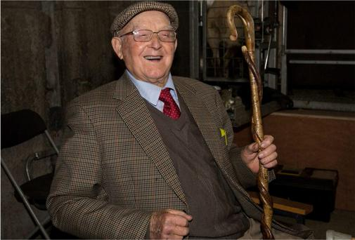 Dan Moran might be 97 but he likes to keep himself occupied and makes shepherd's crooks and walking sticks as a sideline.