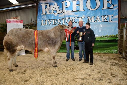 John Anthony McMullen, John McMullen and Daniel McMullen from Convoy with the Show Champion at the Raphoe Livestock Mart Fat Stock Show and Sale. Photo Clive Wasson