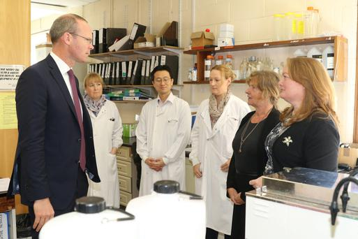 Minister Simon Coveney met with Pamela Lyons, Manabu Nemoto (visiting scientist from the Japanese Racing Association), Rachel Lyons, Professor Ann Cullinane and CEO Sarah McNicholas at the Irish Equine Centre