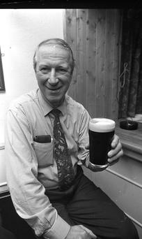 Game over: Jack Charlton relaxing with a pint in the Baggot Street Inn on December 21, 1995, after his role as Ireland manager came to an end