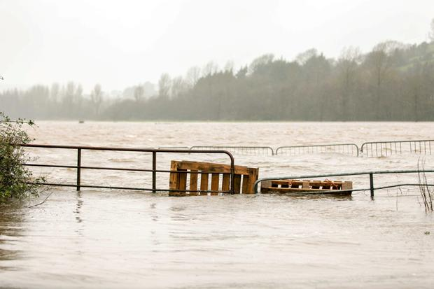 Farmland submerged near Macroom, Co Cork after Storm Desmond. Photo: John Delea.