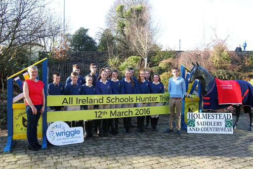 Bertram Allen with school principal Linda Dunne and students from Colaiste Bhride at the launch of the Schools Hunter Trials