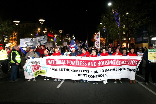 A housing demonstration in Dublin last month. Photo: Stephen Collins.