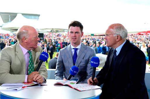 Robbie McNamara with Robert Hall and Ted Walsh during day four last year's Galway Festival. PA WIRE