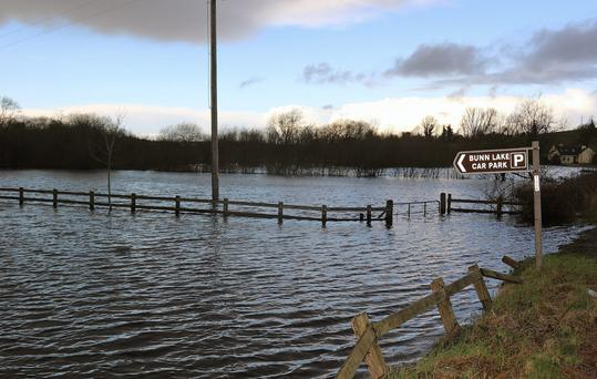 Severe flooding in the Cavan area earlier this month saw Bunn Lake in Belturbet overflow its barriers. Photo: Lorraine Teevan