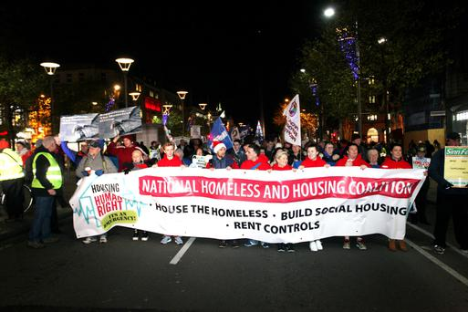 A housing demonstration in Dublin at the end of last year. Photo: Stephen Collins.