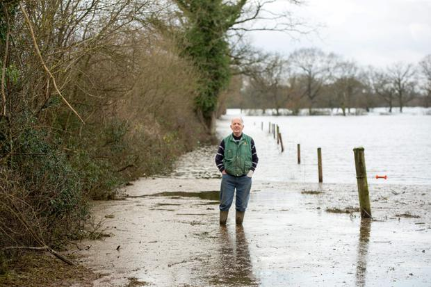Donal Hynes who farms near Annacotty, Co Limerick estimates that he lost a quarter of his productive land for the year due to winter flooding in 2016. Picture: Sean Curtin/Fusionshooters.
