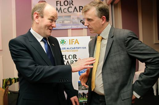 IFA presidential candidate Flor McCarthy (left), who launched his campaign in Kenmare last weekend, pictured with Nigel Renaghan, deputy presidental candidate. Photo: Valerie O'Sullivan.