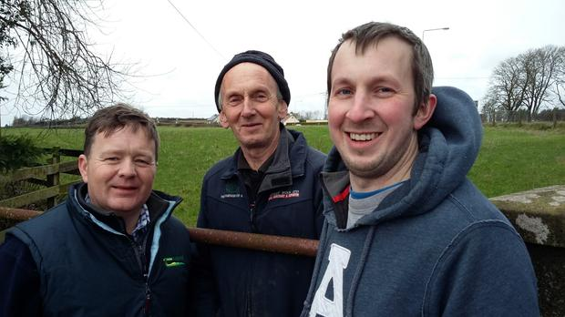 Ken and Richard Mathews, centre and right, with their Teagasc advisor, David Webster