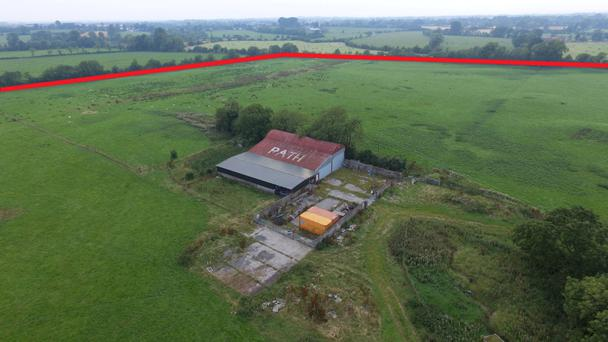 Part of the 69ac holding at Rathkenny was once used as an airfield which explains the outsized white lettering on the shed roof.