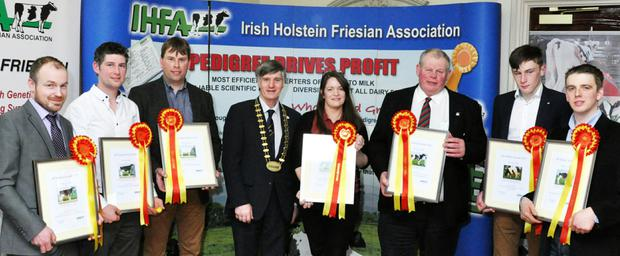 Pictured are the 2016 IHFA All Ireland winners with the association's president Peter Ging; (left to right) Karl Colton, Ardnasalem, Co. Monaghan, Mike Magan, Killashee, Longford, Gordon Kingston, Ballinscarthy, Co. Cork, Sandra Murphy, Bagnalstown, Co. Carlow, David Boyd, Glaslough, Co. Monaghan, Jack Spillane, Fethard, Co. Tipperary, and Michael Booth, Stradbally, Portlaoise.