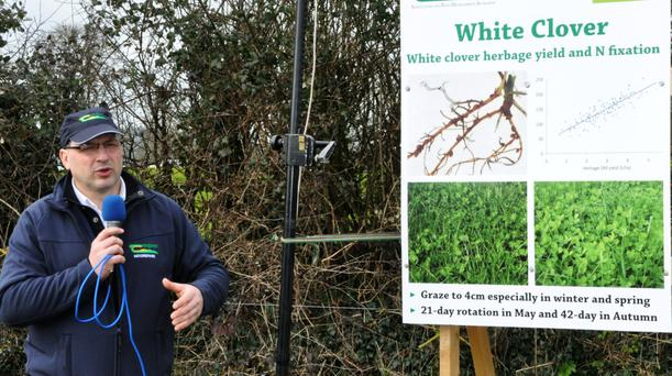 James Humphreys, Teagasc, Moorepark speaking at the Organic Open Day at Golden.