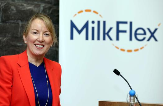 Siobhan Talbot, group managing director of Glanbia, at the 'MilkFlex' launch. Photo: Jason Clarke