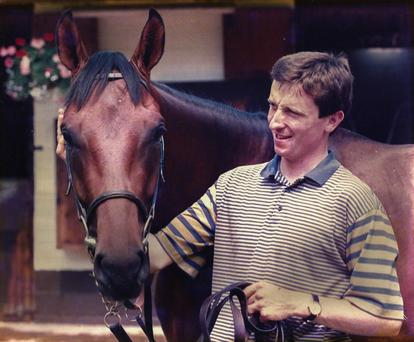 Pat O'Donovan with St Jovite after he won the Irish Derby in 1992.