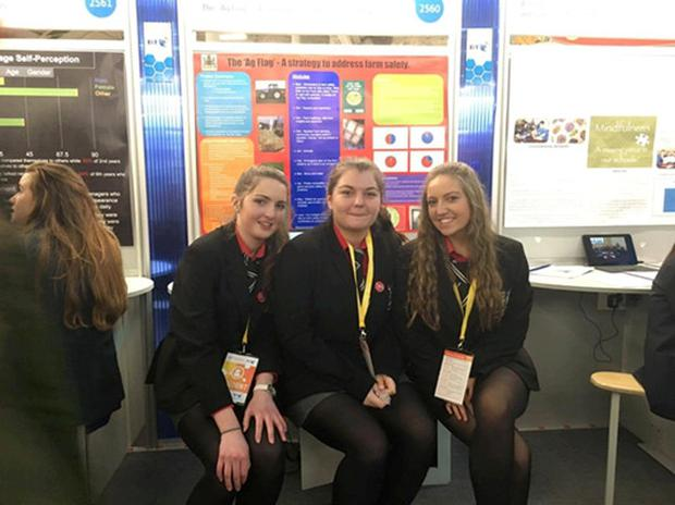 Robynne Shorten, Emma Stokes and Chiara Rijks-Weidner are the trio behind the Ag Flag idea, which scooped an award at the 2016 BT Young Scientist Exhibition.