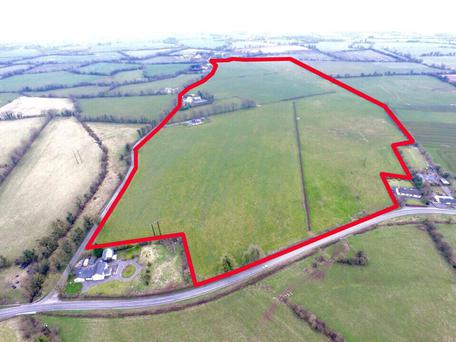 An aerial view of the 94ac residential holding at Fordstown, Co Meath.