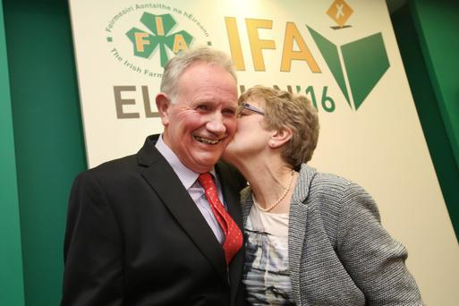 Newly Elected IFA Deputy President Richard Kennedy is congratulated by his wife Helen, at the IFA Presidential Elections in the Castleknock Hotel In Dublin. Photo: Finbarr O'Rourke