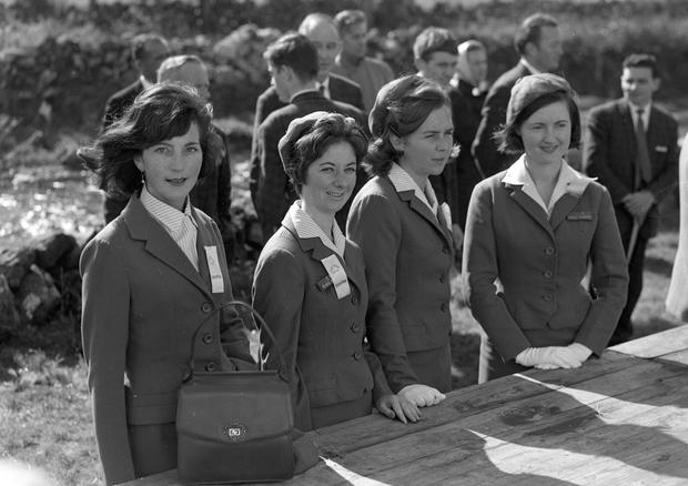 C.I.E hostesses Betty Vernon, Judy McVeigh, Margaret Kilcoin and Margaret Graham at Galway Oyster Festival. NPA Irish Independent Collection.