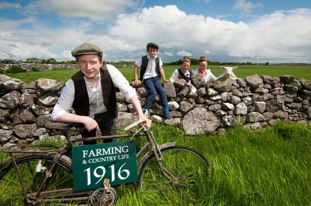Emmet Greaney, Tom Gibson, Shauna Dolan and Emily Greaney at the launch of the Teagasc Farming and Country Life 1916 event taking place in Athenry next month. Photo: Reg Gordon.