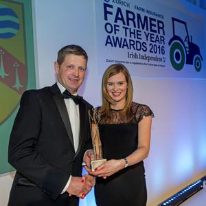 Farmer of the year, Tom Dunne, Laois with Dearbhail Brady, marketing director, Zurich General Insurance. Photo: Douglas O'Connor