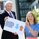 Glanbia chairman Henry Corbally and managing director Siobhan Talbot at the launch of the Advance Payment Scheme for supppliers yesterday. Photo: Robbie Reynolds