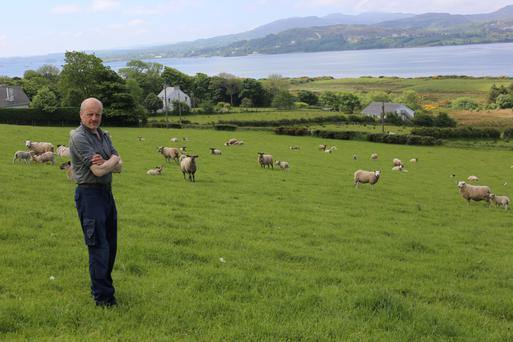 Michael Duffy on his farm at Kerrykeel on the Fanad Peninsula.