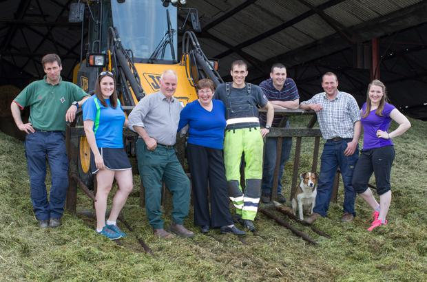 The Phelan family harvesting silage at Clogh, Castlecomer, Co. Kilkenny. From left: James, Claire, Nicholas, Noreen, Harry, Larry, Liam and Mary - also assisting was Roxy the dog. Photo: Alf Harvey.