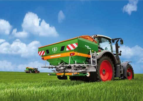 Amazone's ZA-TS hydro mounted fertiliser spreader.