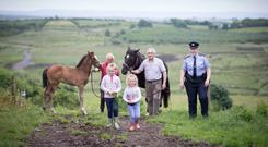 Garda Edel Burke chatting to Gregory Fitzgerald, young Kathleen and Isobel Curtin and Pat Curtin and at Curtin's farm, KIlmihil, Co Clare this week. Photo: Eamon Ward