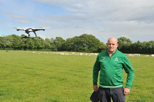 One man and his drone: Paul Brennan uses a drone to round up his sheep in Carlow.