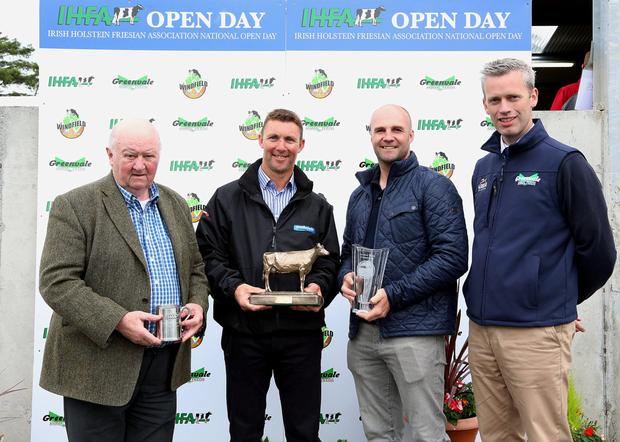 IHFA National Herds Competition Under 80 Section winners: Brian Walsh (3rd) from Oldtown, Co Dublin; Philip Jones (1st) from Gorey, Co Wexford; John O'Callaghan (2nd) from Bandon, Co Cork; and Gordon Richardson, Greenvale Animal Feeds Photo: Maria Kelly.