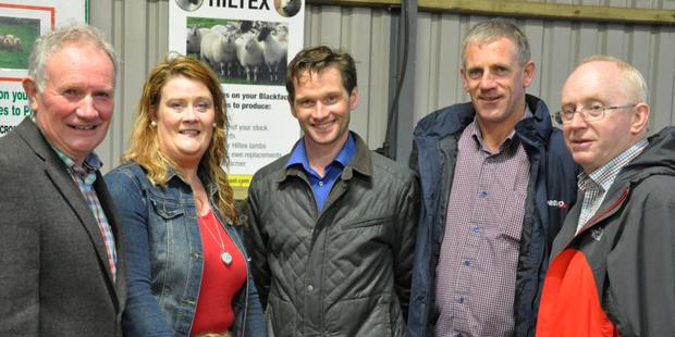 IFA deputy president Richard Kennedy, Irish Texel Sheep Society secretary Sinead Brophy, Limerick IFA chairman Aidan Gleeson, Munster IFA chairman John Coughlan and Sean Lavery, Shanagolden at the South West Texel Open Evening