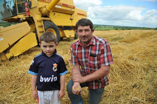 Nigel Jeffers and son Thomas take a break from cutting the winter barley (Tower). Nigel says the head of corn was much smaller than last year's crop with yields at approximately 3t/ac.