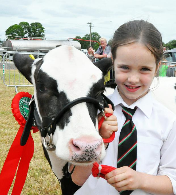 Julie Barrett (6) from Ballinhassig, Co Cork was the champion young handler at the Munster Agricultural Society Show