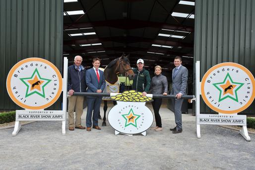 Pictured at the recent launch of the Irish Breeders' Classic were Tony Hurley (Showjumping Ireland), Gareth Connolly (Sales & Marketing Director Connolly's Red Mills), Greg Broderick (2015 Irish Breeders Classic Winner), Kim Wade (The Stallion Company), Ronan Rothwell (Irish Breeders Classic)