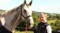 Donal O'Beirne with Gorsehill Maestro, the horse he was riding when he suffered devastating injuries last December
