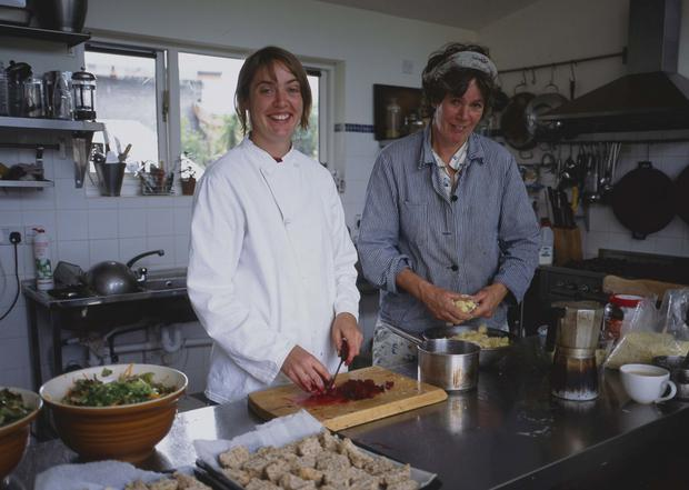 Merel (left) and Esther Zyderlaan at work in the Three Towers Eco-House and Organic Kitchen near Loughrea, Co Galway