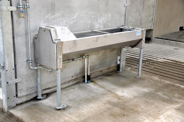 Suevla fast draining water troughs are installed in the building and are supplied by fresh water for drinking at a total cost of £1600 (€1860).
