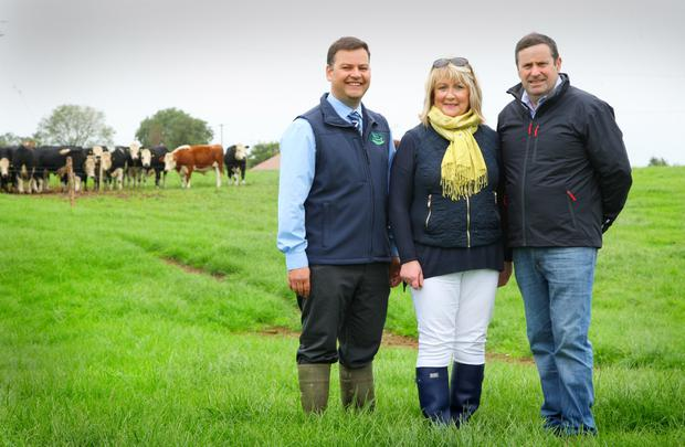 Gordon Peppard (Teagasc Greenacres Calf to Beef Programme Advisor), with Kathleen and Michael Flynn on their 57-hectare farm at Killard, Puckane, Co Tipperary. Photo: Fergal Shanahan
