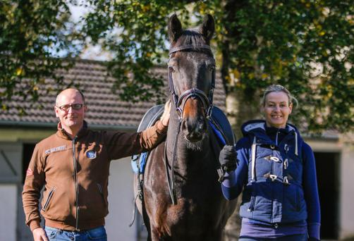 Tom Walsh and Iris Walshe with dressage horse Notorious K