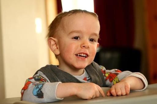 Tom Lynch (3) from Kilskyre, Co Meath lives with a rare condition that affects his mobility and speech
