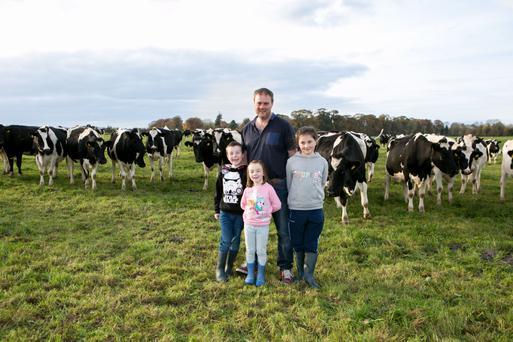 Ian Kelleher pictured with his children Liam, Aine and Maeve on the family farm at Athlacca, Co Limerick. Photo: Brian Gavin, Press 22